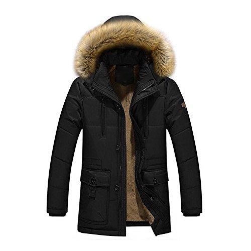 Men Hooded Coat Winter Jacket - Mxssi Outdoor Jacket with Fur Collar Jacket Warm Coat Parka Trench Coats Blazer Outerwear Black Khaki Green M-4XL Black