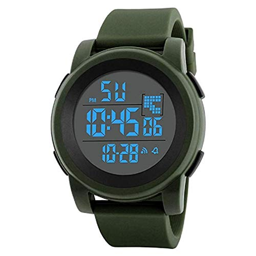 Fashion Clearance Watch! Noopvan Men's Digital Sports Watch LED Screen Large Face Military Watches and Waterproof Casual Luminous Stopwatch Alarm Simple Army Watch,Mens Watches on Sale X68 (Green)