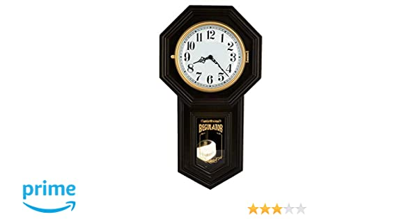 P00070 Musa 23-inch Tall Solid Wood Traditional Schoolhouse Black Windsor Cherry Finish Pendulum Clock with Rich High-end Dual 4 by 4 Chiming Movement