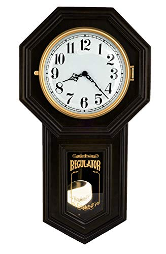 Musa 23-inch Tall Solid Wood Traditional Schoolhouse Black Windsor Cherry Finish Pendulum Clock with Rich High-end Dual 4 by 4 Chiming Movement – P00070