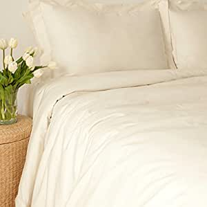 LIFEKIND 300 Thread Count Certified Organic Cotton Sateen Fitted Sheet Twin, In Ivory