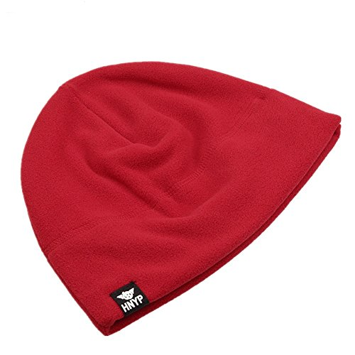 Home Prefer Winter Outdoor Skull Cap Simple Solid Daily Watch Hat Fleece Beanie Cap For Men, Red (Cap Skull Red)