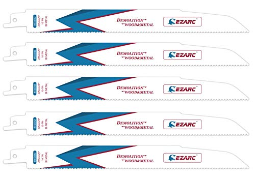 EZARC Reciprocating Saw Blade Wood and Metal Demolition 9-Inch 10TPI R930DM (5-Pack)