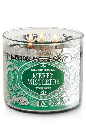 Bath and Body Works White Barn Merry Mistletoe 3 Wick Candle 14.5 Ounce