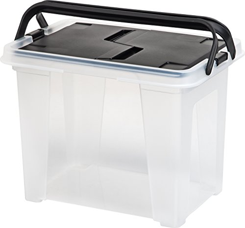 IRIS Letter Size Portable Wing-Lid File Box with Handles, 4 Pack, Black