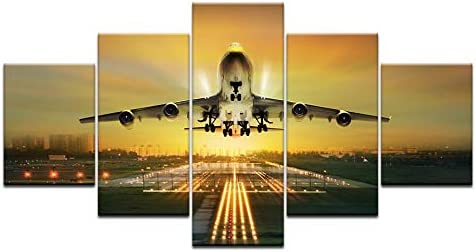 FASH Embellish 5 Pieces Sunset Lights Airplane Lawn HD Canvas Painting Aircraft s Home Decor Pictures for Living Room