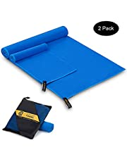 Cambivo Large Microfiber Travel Towel, 2 Pack Beach Blanket and Face Towel, Fit for Camping, Swimming, Backpacking, Sports, Yoga, Gym (Fast Drying, Ultra Compact, Super Absorbent)
