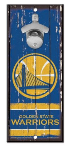 WinCraft NBA Golden State Warriors 5x11 inch Wooden Wall Mounted Bottle Opener Sign