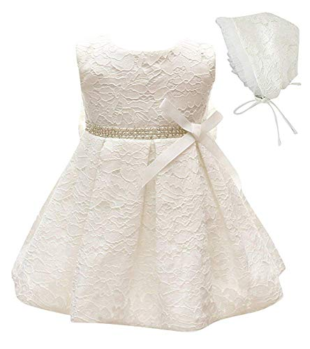 - Baby Girls Premium Baptism Christening Dress with Bonnet Beaded Lace Wedding Birthday Flower Girls Dress White 6m