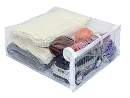 Oreh Homewares Heavy Duty Vinyl Zippered (Clear) Storage Bags (9'' x 11'' x 4'') for Blankets, Dresses, Shirts, Pants, Sheets, Fabrics (1.7 Gallon) (10) by Oreh Homewares