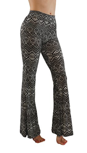 [Pro Fit Bell Bottom Palazzo High Waist Gypsy Ethnic 70s Hippie Printed Yoga Pants (L, PF / 7FP01-09)] (70s Hippie Fashion)
