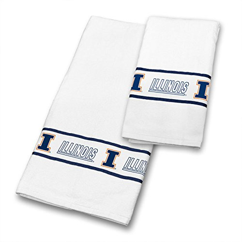 Illinois Fighting Illini COMBO Shower Curtain, 4 Pc Towel Set & 1 Window Valance - Decorate your Bathroom & SAVE ON BUNDLING! by Sports Coverage