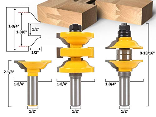 Xnrtop Classical 3 Bit Extended Tenon Entry Door Rail and Stile Router Bit Set with 1/2