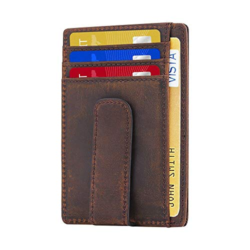 (Beartwo RFID Blocking Minimalist Genuine Leather Money Clip Wallet Slim Front Pocket Wallet Credit Card Holder with ID Window)