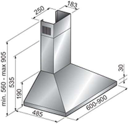 Tecnowind León o negro campana extractora de acero inoxidable enorme 500 M3/H Velocidad de extracción (3 tamaños disponibles), acero inoxidable, negro, 600 mm: Amazon.es: Hogar