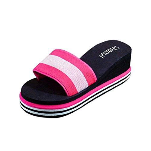 Ularma Casa de verano y playa zapatos sandalias zapatillas de las mujeres rosa roja