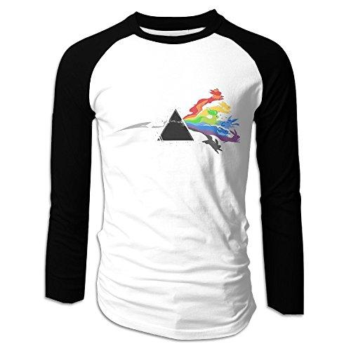 Creamfly Mens Pink Floyd Eevee Evolution Long Sleeve Raglan Baseball Tshirt - Santana Rose Jose San