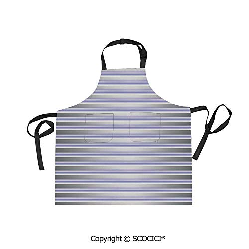 SCOCICI Men Woman Kitchen Printed Apron with Adjustable Neck 2 Side Pockets,Stripe Tube Like Bars Animation Inspired Minimalist Graphic Art,for Cooking Baking Gardening
