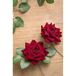 Ling's moment Artificial Velvet Roses Flowers 5