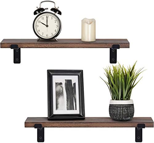 Mkono Rustic Wood Floating Shelves Industrial Wall Mounted Shelving Set of 2 Wall Storage Shelves with Lip Brackets for Bedroom, Living Room, Bathroom, Kitchen, Office
