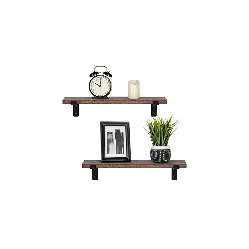 Mkono Floating Shelves Wall Mounted Rustic Wood Wall Shelves Modern Storage Shelving with L Brackets for Home Decor…