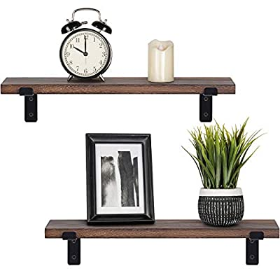Mkono Wood Floating Shelves Rustic Modern Wall Mounted Storage Shelf with Lip Brackets for Bathroom Bedroom Living Room Kitchen Office Set of 2, Brown - ✔ Home decor & organizer- Set of 2 wall shelves are the perfect piece for any rustic, modern, or natural home decor. They allow to better organize spaces and to put all sorts of things on display. They are perfect choice for adding additional shelving space for collectibles, plants, crafts, photos and more. ✔ Premium quality wall shelves- Made of paulownia wood, metal brackets,The wood board is under anti-mildew treatment so it can not be moldy,Handcrafted and forged brackets are durable and sturdy.Perfect for displaying potted plants, family photos, collectibles and so much more. The props in the picture are not included. ✔ Versatile & Functional - Install in the bedroom or bathroom to hold beauty/hair products, place under a mirror in the entryway, or exhibit family photos gallery style in a long hallway — Showcase trophies and accolades near the fireplace, use in the kitchen to hold spices and jars and so on. - wall-shelves, living-room-furniture, living-room - 41GSym0z49L. SS400  -