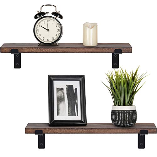 Mkono Rustic Wood Floating Shelves Industrial Wall Mounted Shelving Set of 2 Wall Storage Shelves with L Brackets for Bedroom, Living Room, Bathroom, Kitchen, Office (Bathroom Wall Wood Shelves)