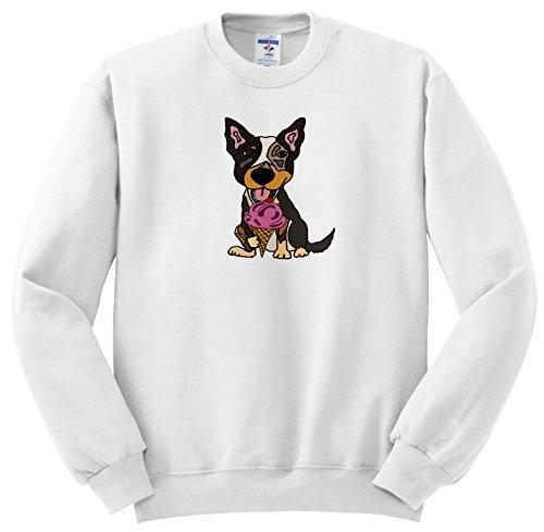 All Smiles Art Funny - Funny Cute Australian Cattle Dog Puppy Eating Ice Cream Cone - Sweatshirts - Adult SweatShirt XL (ss_256457_4) ()