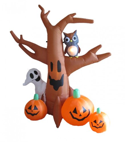 8 Foot Dead Tree with Owl, Ghost and Pumpkins -