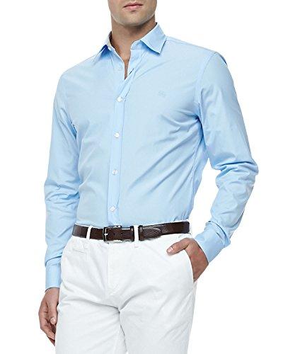 BURBERRY Men's Pale Peridot Blue Henry Shirt (S)