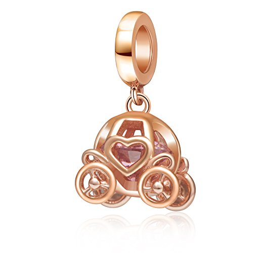 Hoobeads Rose Gold Pumpkin Royal Carriage with Pink Crystal Charms 925 Sterling Silver Dangle Bead