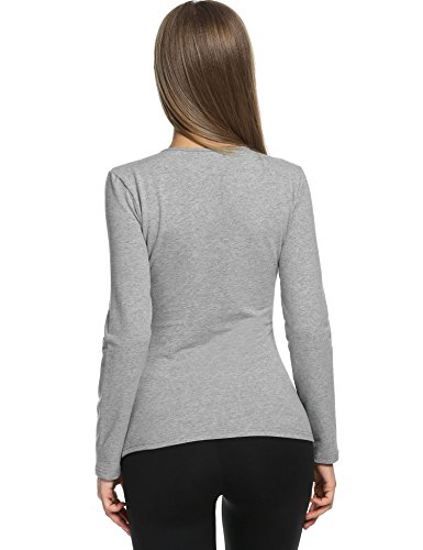 Avidlove Womens Wicking Thermal Winter Shirt Crew Fleece lined Tops Underwear Shirt,Medium,Gray by Avidlove (Image #5)