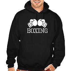 Men's Boxing Gloves V434 Black Pullover Hoodie Sweater X-Large Black