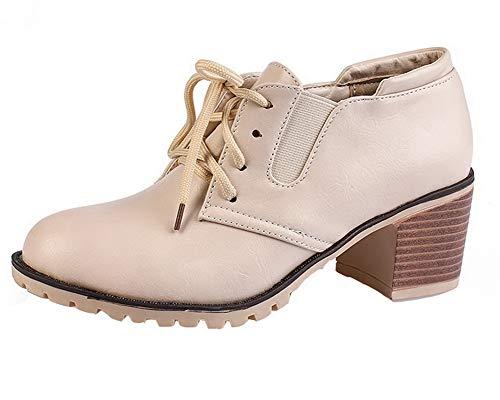 Couleur Cuir Chaussures Lacet Abricot Légeres Femme Correct Pu Talon Aalardom Tsfdh004354 À Unie 6qZfzEnY