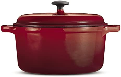 Tramontina 80131 621DS Style Enameled Cast Iron Covered Round Dutch Oven, 6.5-Quart, Red