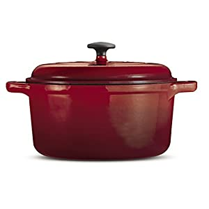 Tramontina 80131/621DS Style Enameled Cast Iron Covered Round Dutch Oven, 6.5-Quart, Red