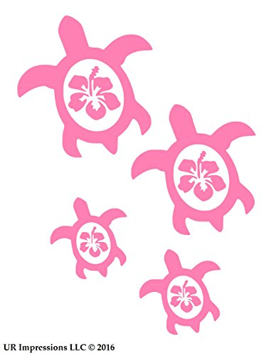 UR Impressions Pnk Hibiscus Sea Turtle Family of Four Decal Vinyl Sticker Graphics for Car Truck SUV Van Wall Window Laptop|Pink|7.5 X 6.5 Inch|URI525
