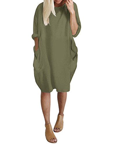 Kidsform Women Tunic Dress Loose Long/Short Sleeve Plain Solid Oversize Baggy Party Shirt Mini Short Dresses with Pockets Army Green S