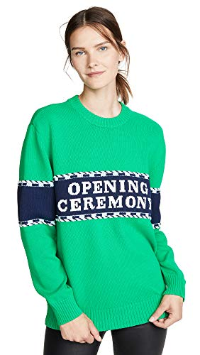 Opening Ceremony Women's Logo Stripe Sweater, Kelly Green Multi, Large
