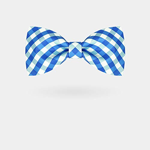 YYQ - Corbata de moño con Estampado de Cuadros Azul Fresco ...