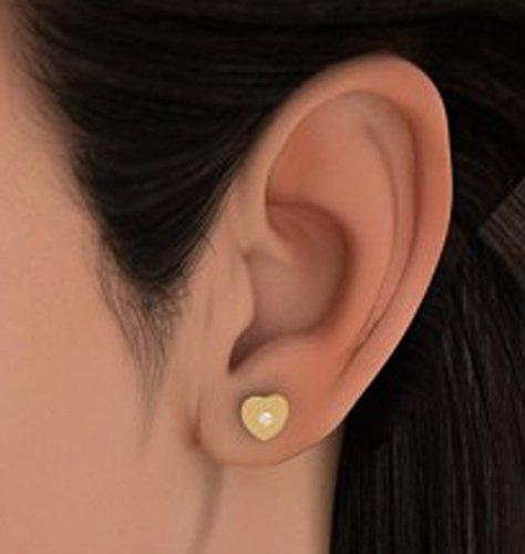 Or jaune 14K 0,06CT TW White-diamond (IJ | SI) Boucles d'oreille à tige
