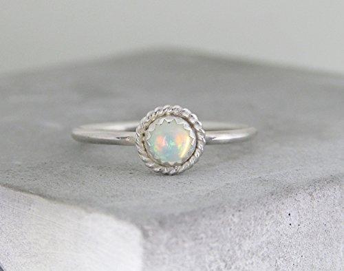 Ethiopian Opal Ring sterling silver fire opal AA grade opal ring...