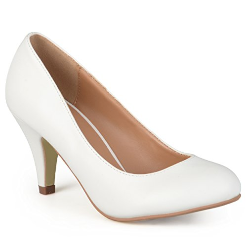 Journee Collection Womens Matte Finish Classic Pumps White 7.5