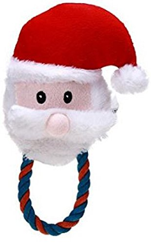 Squeaking Santa Dog Chew Toy With Rope Handle , Generic ()