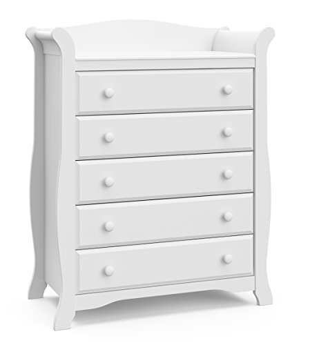 (Stork Craft Avalon 5 Drawer Universal Dresser, White)