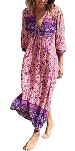 R.Vivimos Women's Long Sleeve Floral Print Retro V Neck Tassel Bohemian Long Dresses (Pink, XL)