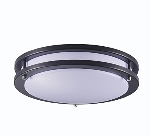 Surpars House LED Flush Mount Ceiling Light 4000K (Daylight Glow) 15W (60w equivalent),12 Inch,Black by Surpars House (Image #1)'