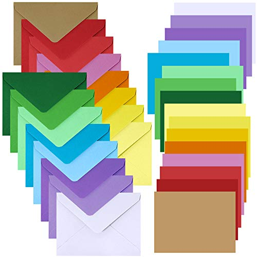 160 Sets 16 Colors Contour Flap Envelopes Invitation Envelopes Self Seal and Greetings Rainbow Blank Single Panel Cards Note Cards Love Notes Cards for Wedding Kids Personal Stationery Graduation Gift