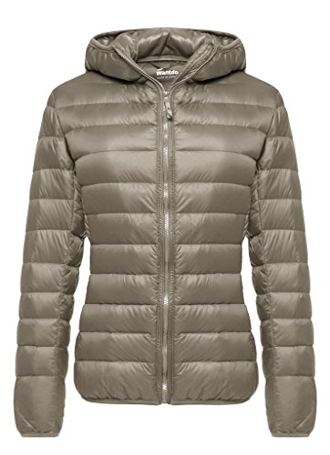 Wantdo Women's Hooded Packable Ultra Light Weight Short Down Jacket(Khaki, 3XL)