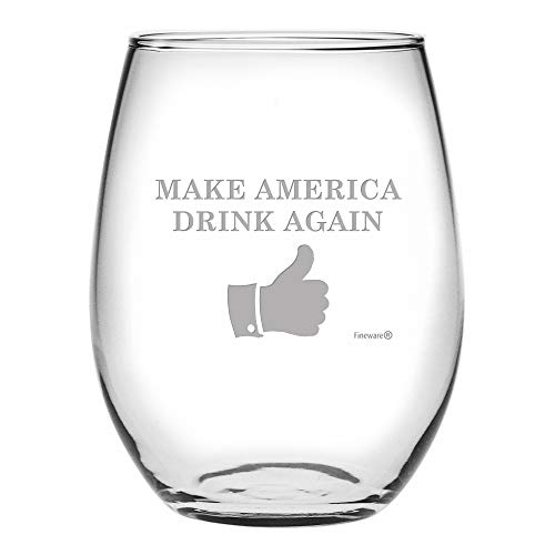 Fineware Make America Drink Again Funny Wine Glass - 15 Oz Etched Stemless Libbey ()